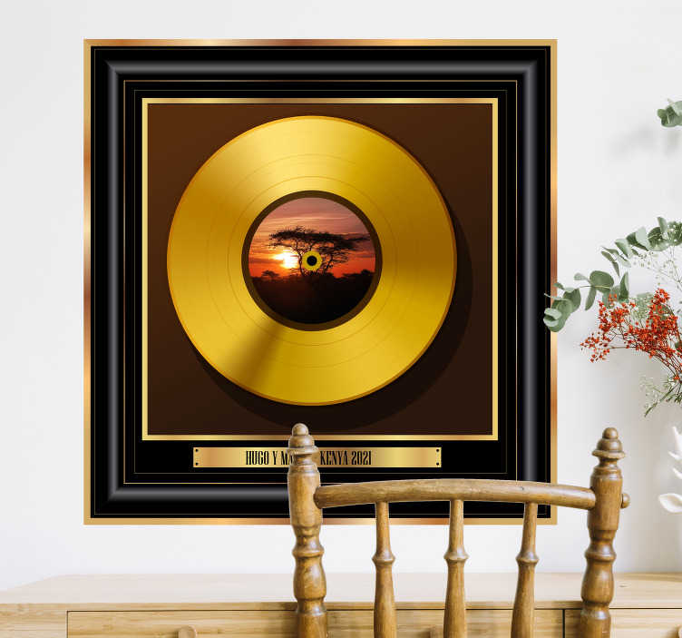 TenStickers. Personalised gold record plaque music wall sticker. Cherish your memories in a unique way with this music sticker. This recored plaque allows you to upload your own image and to write your own text
