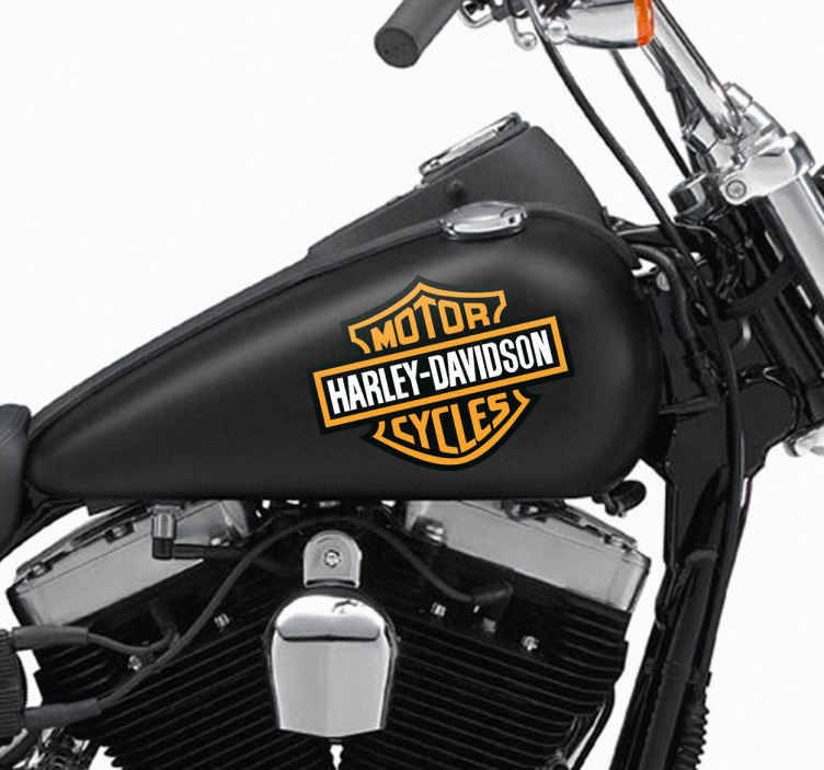 TenStickers. Naklejka Harley Davidson motor logo. Naklejka dekoracyjna przedstawiająca logo amerykańskiego producenta motocykli Harley Davidson. Naklejki na motocykl.