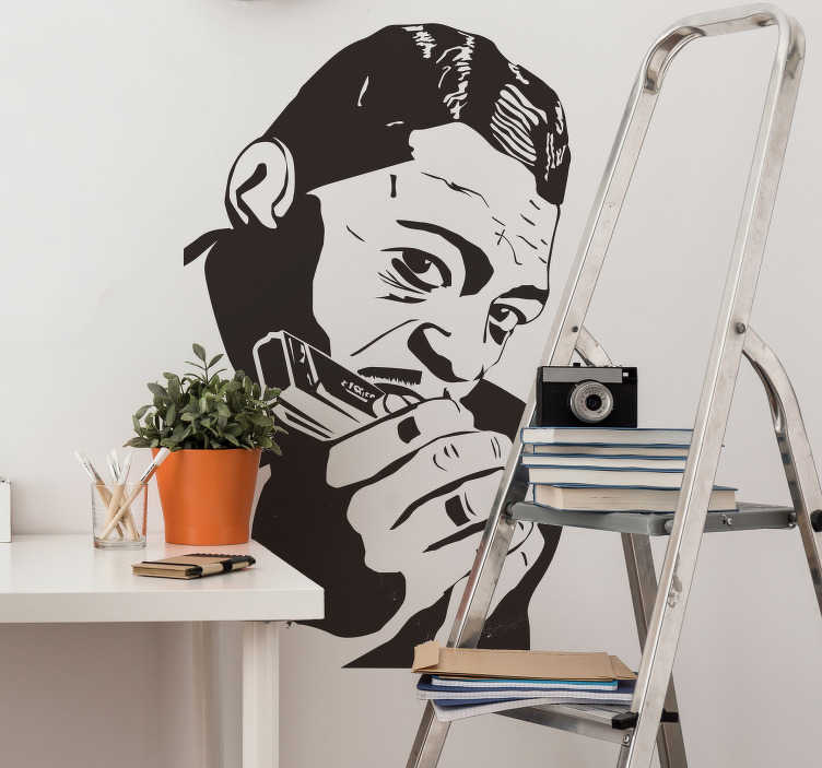TenStickers. Blues Little Walter wall decal. Easy to apply music character wall sticker of Little Walter, a jazz music artist with his instrument held to his mouth. You can have it in any colour.