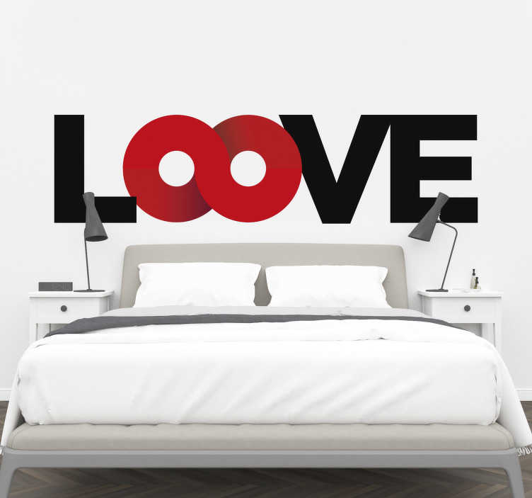 TenStickers. Loove wall decal. Decorative headboard wall decal with  colourful pretty text of ''loove'' that you will admire and will add a touch of beauty to the space.