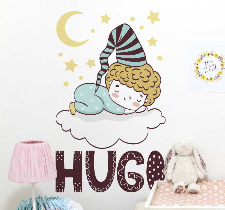 TenStickers. Customizable sleeping child illustration decal. Easy to apply wall decal of a sleeping child on the cloud with the stars and moon together with a customisable name of your choice.