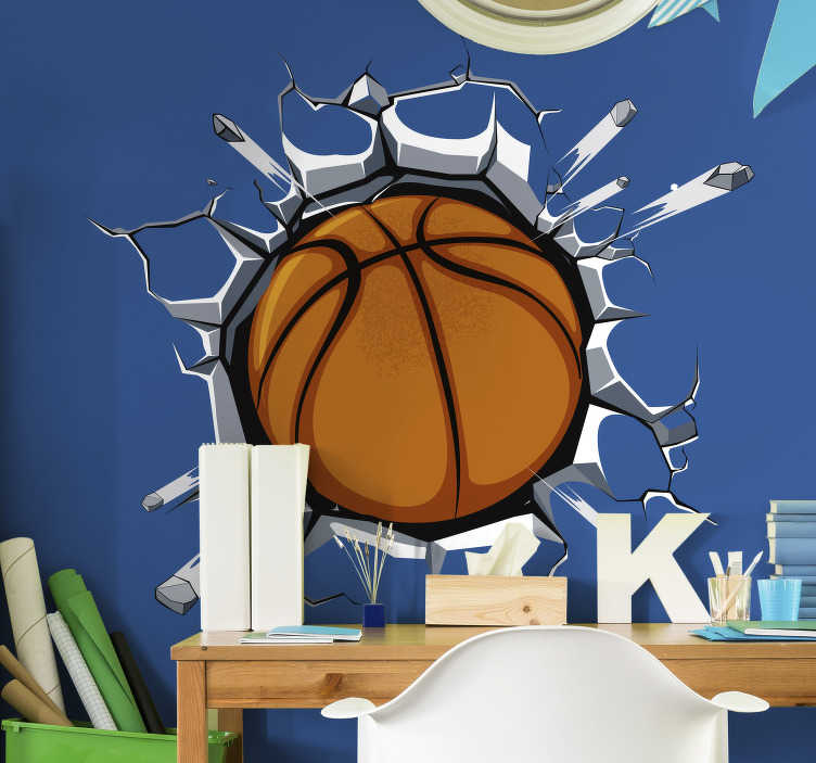 TenStickers. Basketball sticker of the wall. A fantastic basketball sticker where the ball comes out of the wall. Do you like basketball? Then is this the perfect decoration for you!