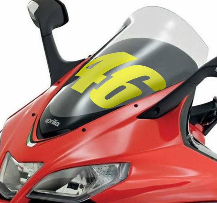 TenStickers. Numeri adesivi moto 46 Valentino Rossi. Adesivo decorativo del numero 46, notoriamente associato al grande campione italiano di motociclismo Valentino Rossi.