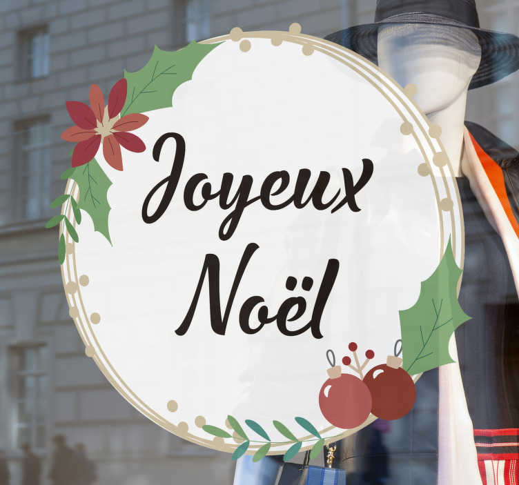 TenStickers. Biscuit Festif Houx. Notre nouveau sticker noel qui mettra le sourire sur le visage! Profitez de noel cet hiver et achetez maintentant pour un sticker incroyable!