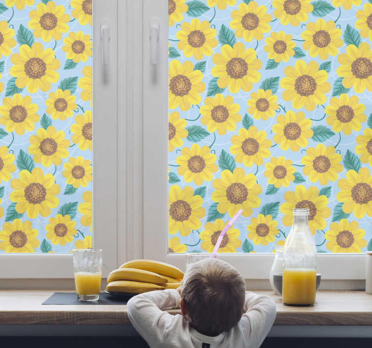 TenStickers. Sunflower motifs window decal. Decorative window decal design of brilliant looking sun flower motifs in multi colour background appearance to cover the window in smiling beauty.