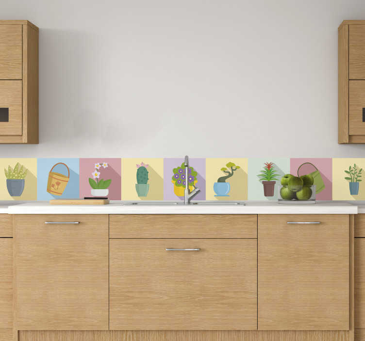 TenStickers. Nalepka z mejo na lončkih. Okrasna stenska obloga zasaditev cvetličnih loncev v različnih barvah in vrstah cvetov, ki se uporabljajo na steni kuhinje.