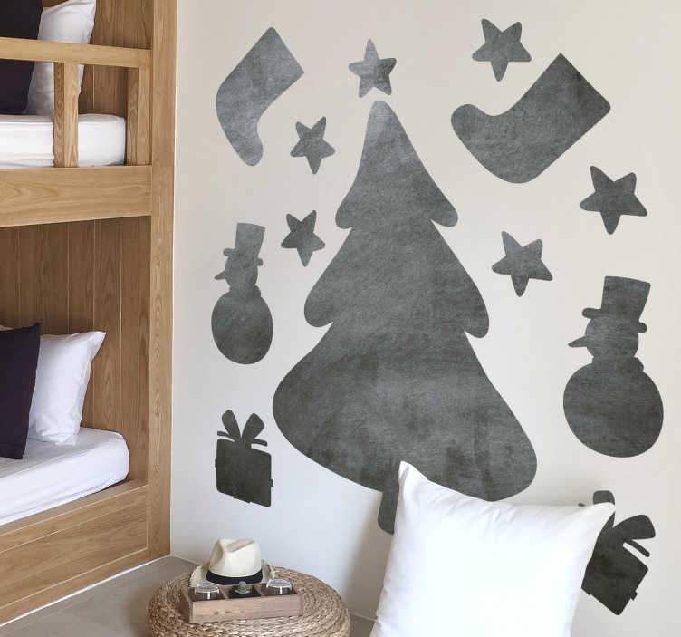 TenStickers. Chalkboard Christmas Tree sticker to write on. Writing surface wall sticker vinyl design with Christmas features like snow man, stars and more and you can have it in any colour.