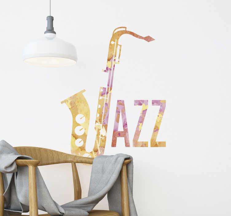 TenVinilo. Vinilo de jazz acuarela saxofón. Original vinilo de jazz y música decorativo para pared que ahora puedes comprar online para tener una pared personalizada que refleje tus gustos.