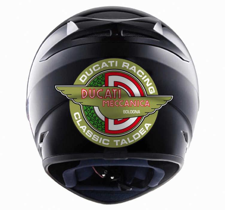 TenVinilo. Vinilo moto logo Ducati antiguo. Adhesivo tradicional de la mítica empresa italiana fabricante de motocicletas. Una de las marcas más importantes en el sector deportivo de motos.