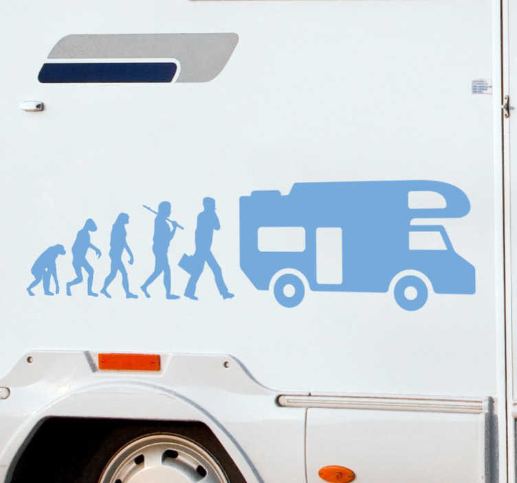 TenStickers. Evolution Caravan vehicle vinyl sticker. s this how you have evolved? If you are a caravaning fan then this caravan sticker is perfect for you! This design can be stuck anywhere you'd like