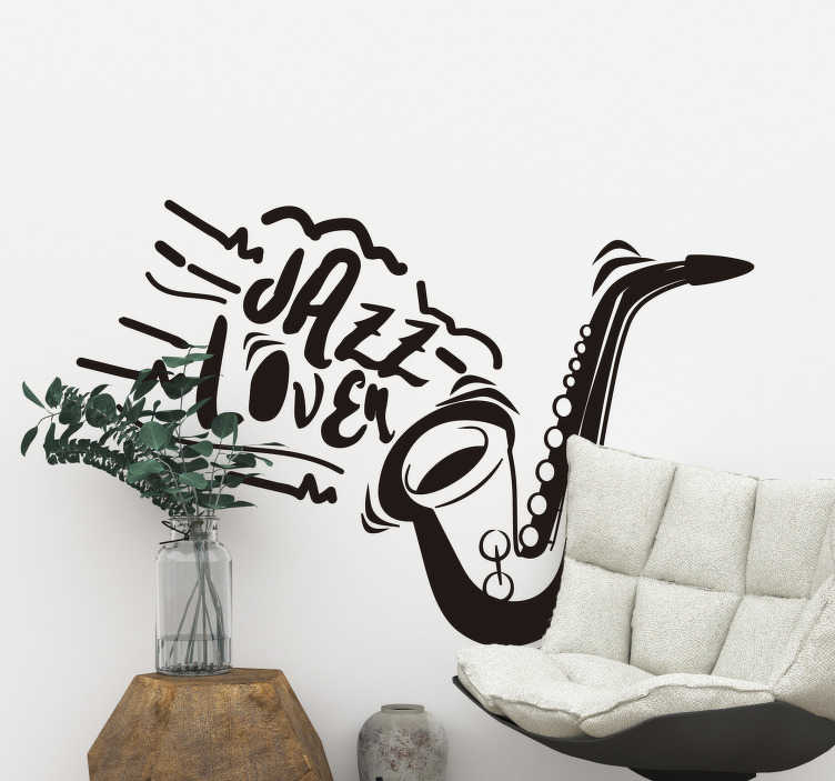 TenStickers. Jazz lover wall decor. Decorative and easy to apply music wall decal of a saxophone with the text '' i love jazz. You can enjoy the design in any colour that you prefer.