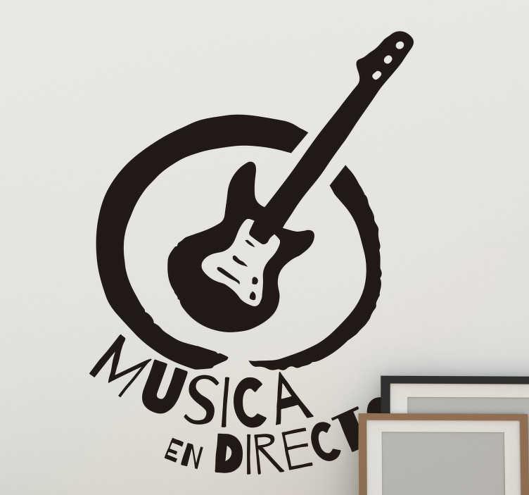 """TenVinilo. Pegatina rock local musical. Fantástico vinilo de música rock con frase """"MÚSICA EN DIRECTO"""" que puedes colocar en tu local o en tu casa por un módico precio."""