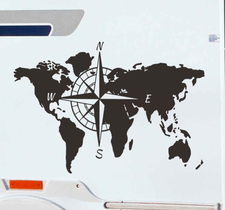 TenStickers. World map and compass for caravan Location sticker. Easy to apply car vinyl decal design of a world map with compass featuring all it cardinal points of angle and it can be in any colour you prefer.