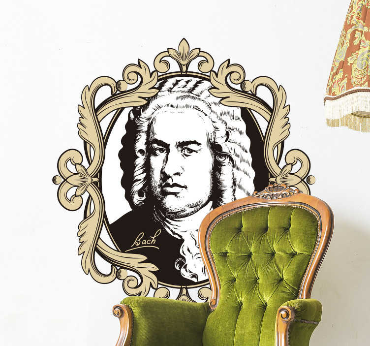 TenStickers. Portrait Johann Sebastian Bach character wall sticker. A  decorative wall decal portrait of Johann Sebastian Bach in black and white colour. Easy to apply adhesive vinyl that you will love.