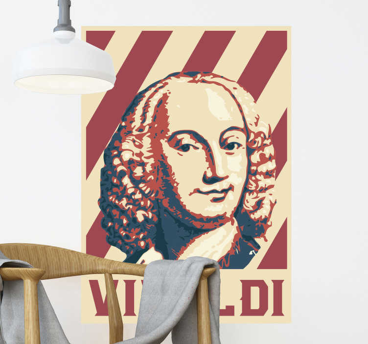TenStickers. Vivaldi pop art portrait classical music wall sticker. Easy to apply wall art sticker of Vivaldi, a classical musician.The design is a digital print in lovely colour that will make a frame on your the wall