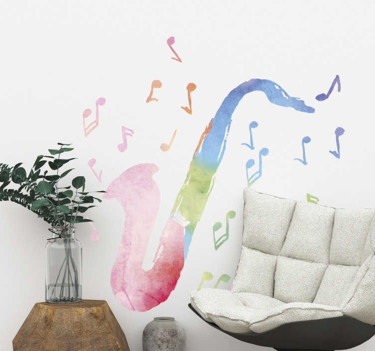 TenStickers. Multicolour saxophone jazz and blue decal. Add a fun pop of colour to your wall with this jazz and blues sticker! This jazz and blues decal will bring your walls to life!