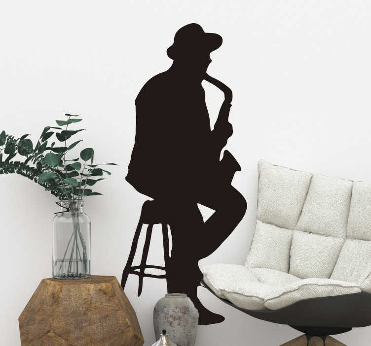 TenStickers. Jazz and blues saxophone player sticker. Blues and jazz fan? Know someone who is? Well you've just found the perfect sticker. This jazz and blues sticker is exactly what you need