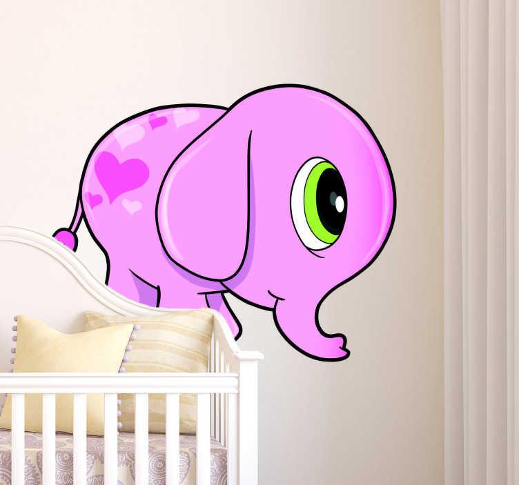 TENSTICKERS. 子供ピンクの象の壁のステッカー. 女の子のベッドルームの壁のステッカー - その背中に心を持っているかわいいフレンドリーなピンクの象のベッドルームのステッカー。