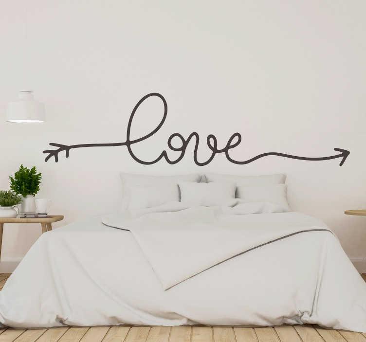 """TenVinilo. Vinilo amor Flecha Love. Pegatina adhesiva para cabecero de una cama de matrimonio compuesta por el texto """"love"""" formando una flecha. Promociones Exclusivas vía e-mail."""