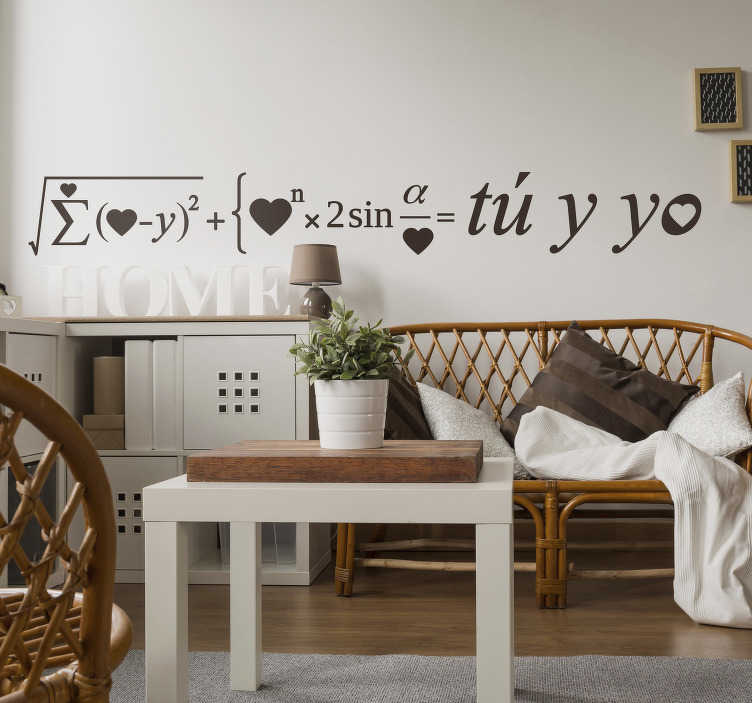 """TenVinilo. Vinilo amor formula san valentín. Fantástico vinilo para pared formado por la fórmula del amor con el resultado de """"Tú y yo"""". Vinilos Personalizados a medida."""