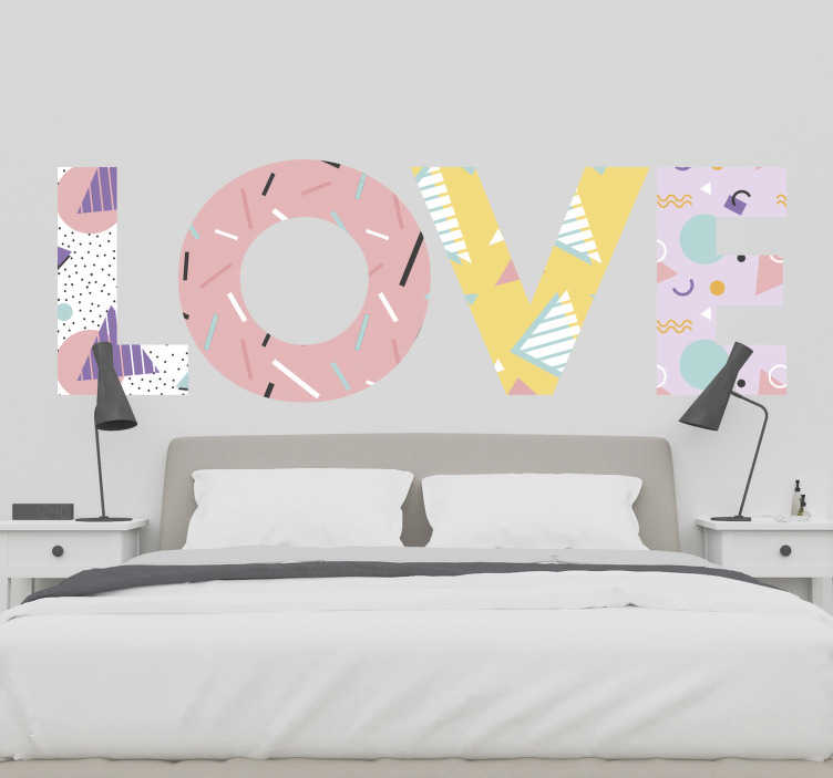 TenStickers. Memphis style love wall sticker. A bright, fun, memphis love sticker for those who want to spread the love! A love decal that can be used as a headboard or simply as of wall art