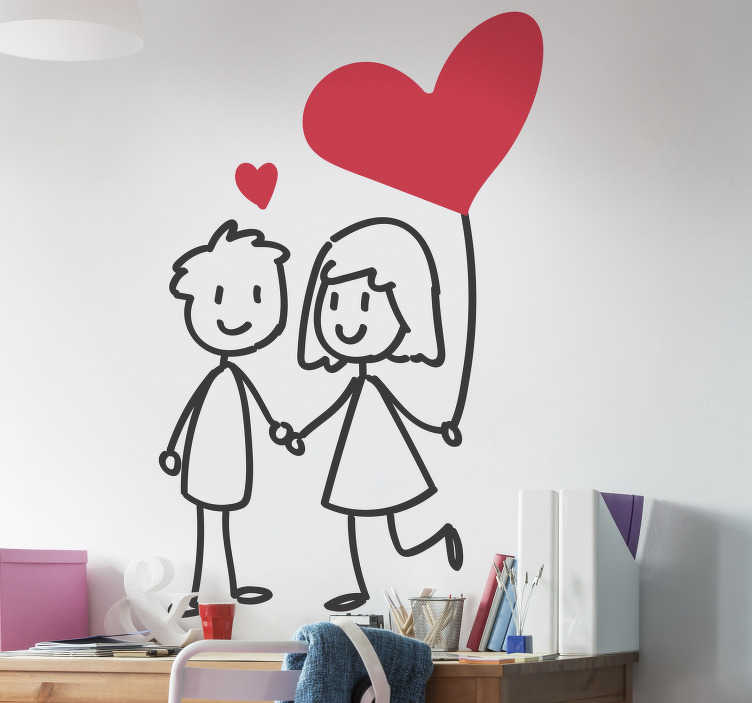 TenStickers. Couple in love wall sticker. A cute couple who are in love. This is the perfect love sticker for you if you are loved up with your boo, or maybe you just love love