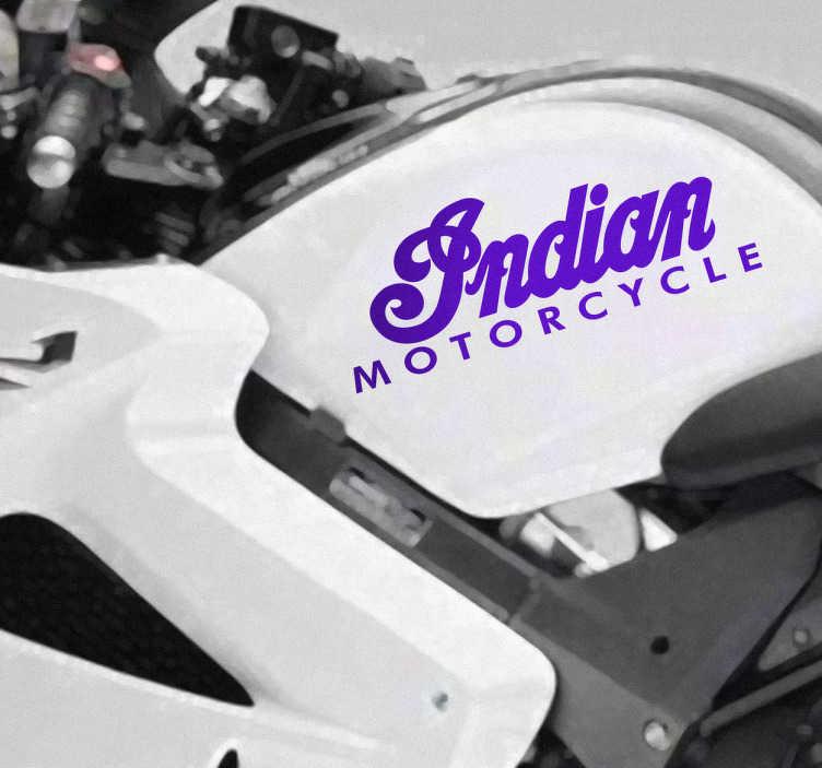 TenVinilo. Vinilo moto logotipo Indian. Adhesivo de la mítica marca de motos Indian, las únicas capaces en plantar cara a las legendarias Harley Davidson. Joyas del motor por las que no pasa el tiempo.