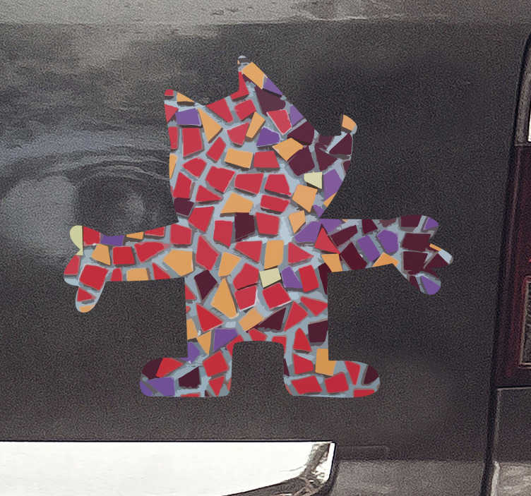 TenVinilo. Vinilo decorativo Barcelona Cobi Ciutat Olímpica. Fantástica pegatina para coche de Barcelona con la imagen de la mascota Cobi de las Olimpiadas de 1992 con el estilo de Gaudí. Fácil de aplicar.