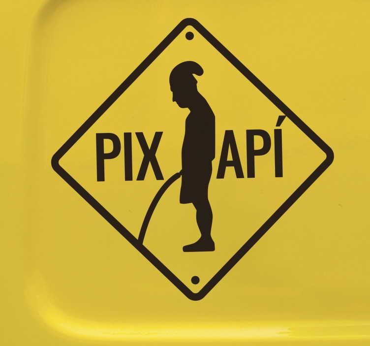 """TenVinilo. Vinilo decorativo Barcelona Pixapí Monocolor. Fantástica pegatina para coche de Barcelona con la imagen y frase de """"PIXAPÍ"""" en la que se ve el pixapí representado en la letra A"""