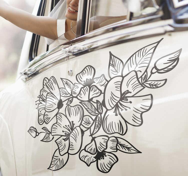 TenStickers. Autoaufkleber Hochzeit Blumen. Der romantische Autoaufkleber mit schönen Blumen ist ein Must-have für Ihre Hochzeit! Freuen Sie sich über beste Qualität exklusiv für Sie produziert.