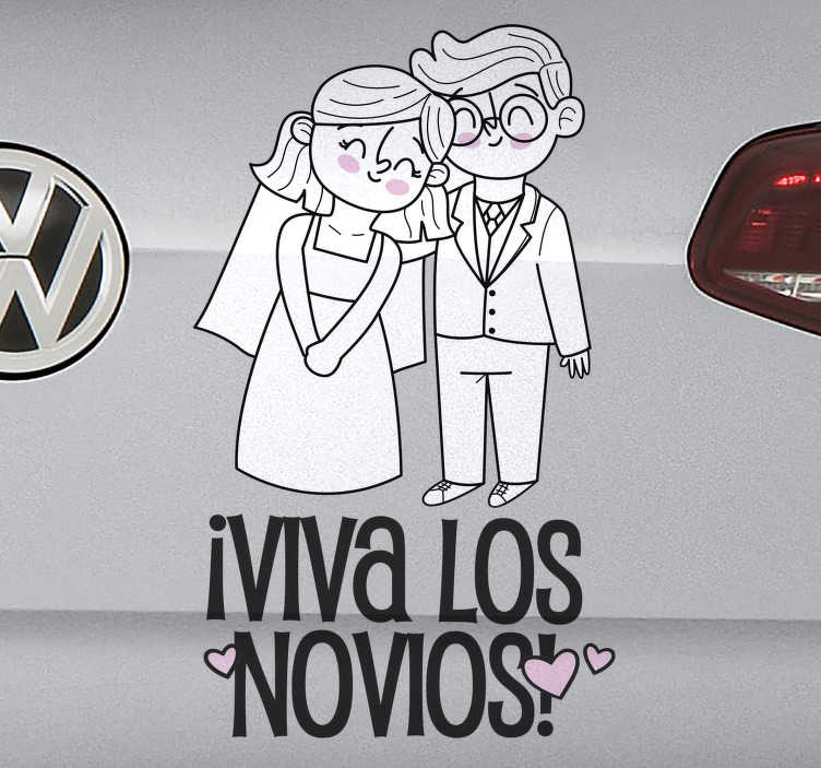 """TenVinilo. Pegatina para coche de boda viva los novios. Original vinilo de boda para coche o vehículo con frase """"VIVA LOS NOVIOS"""" y dos novios vestidos de boda y felices. Fácil de aplicar."""