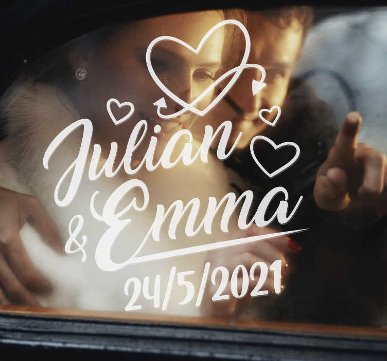 TenStickers. Wedding hearts name and date wedding vinyl decal. Easy to apply wedding decal with name and date that can be personalise with your details and you can have it in any colour of your choice.