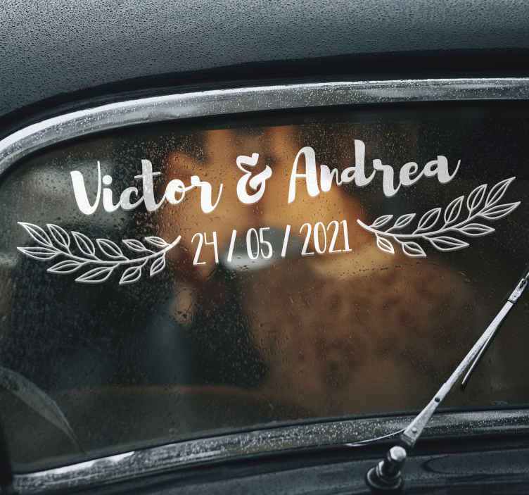 TenStickers. Name and date wedding vinyl decal. Easy to apply wedding decal for car created with name and date  that can be personalise with your details for wedding. You can have it in any colour.