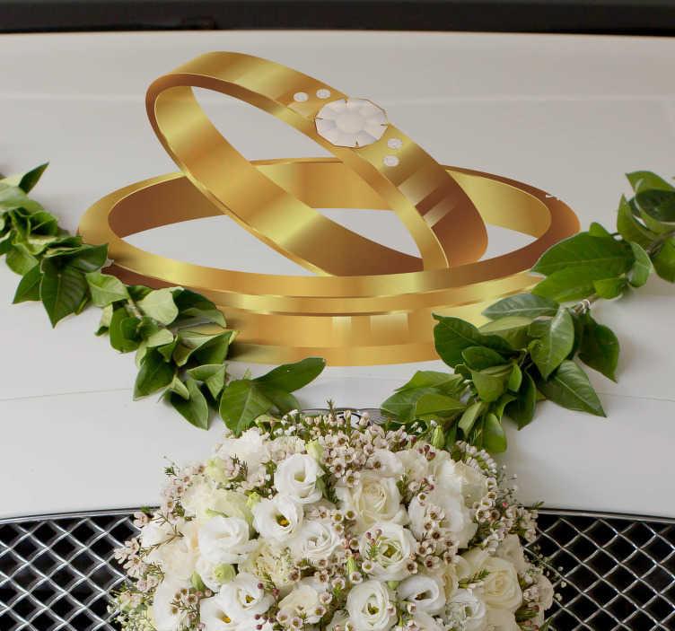 TenStickers. Adesivo personalizzato matrimonio per auto con anelli dorati. Grazie allo sticker matrimonio per auto con anelli dorati riuscirai a decorare la macchina delle nozze in modo magnifico ed originale!