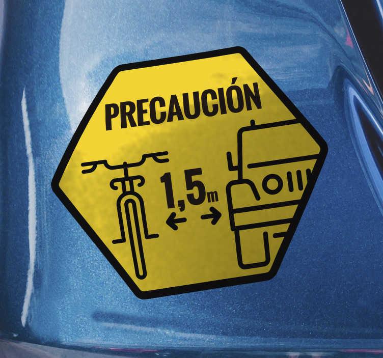 TenVinilo. Pegatina bicicleta Ciclista precaución. Vinilo o pegatina de precaución ciclista para tu vehículo con la que podrás recordar a todos la distancia que deben respetar con los ciclistas.