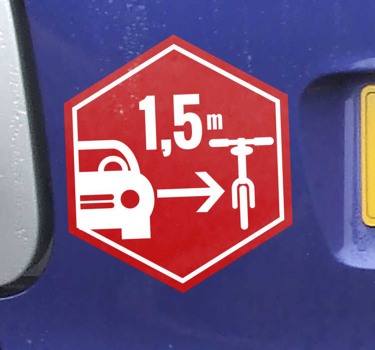 TenStickers. respect for the hexagonal cyclist Car Decal. Easy to apply car decal created on in a hexagonal shape with a bicycle for cycling. The design is to show respect for hexagonal cyclist.