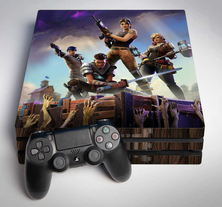 TenStickers. Fortnite ps4 sticker. If you love Fortnite and are looking to decorate your PS4, look no further. This fortnite PS4 sticker is exatly what you need. A superb gift