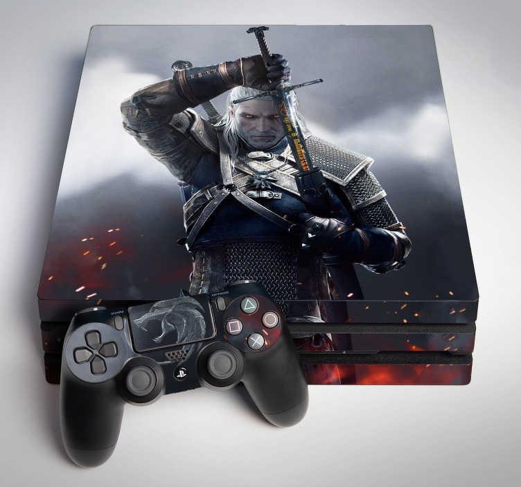 TenStickers. Skin Ps4 The Witcher. Con il  fantastico adesivo per Ps4 di The Witcher potrai avere la straordinaria illustrazione di Geralt di Rivia direttamente sulla console!