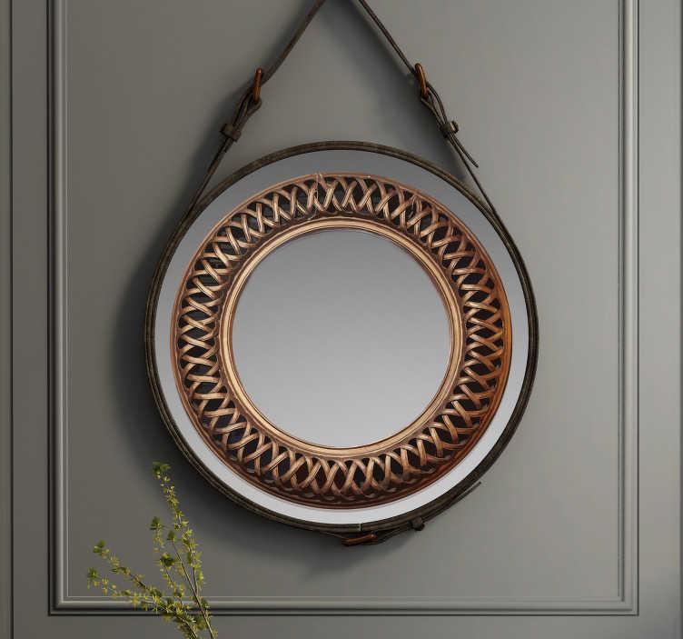 TenStickers. stickers de cadre miroir effet antique. stickers de cadre miroir facile à appliquer créé avec un effet antique dans un style de tissage entrelacé. Vous pouvez l'appliquer dans votre salle de bain ou miroir de toilette.