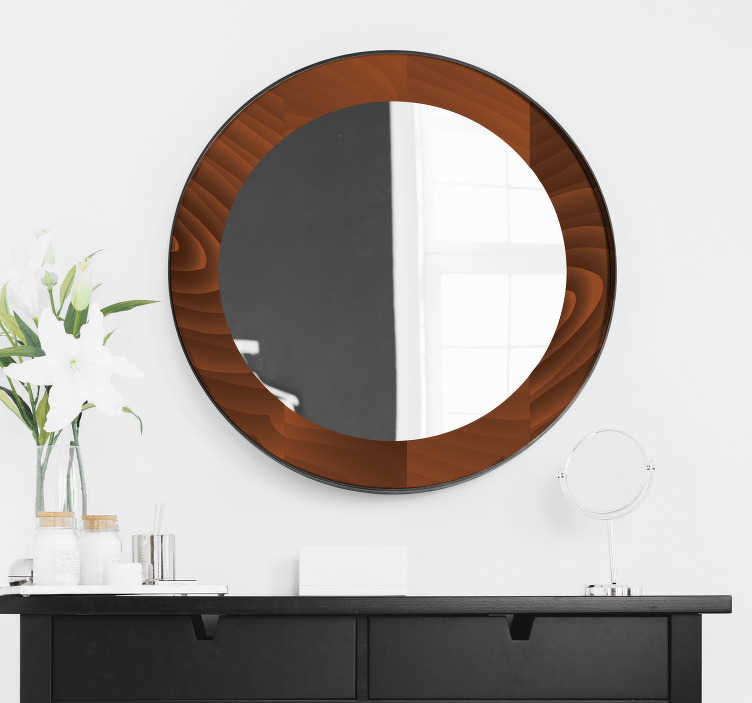 TenStickers. Round wooden mirror frame sticker. An easy to apply mirror frame decal created in a deep brownish wooden texture that will beautify the surface of your bathroom and dressing mirror.