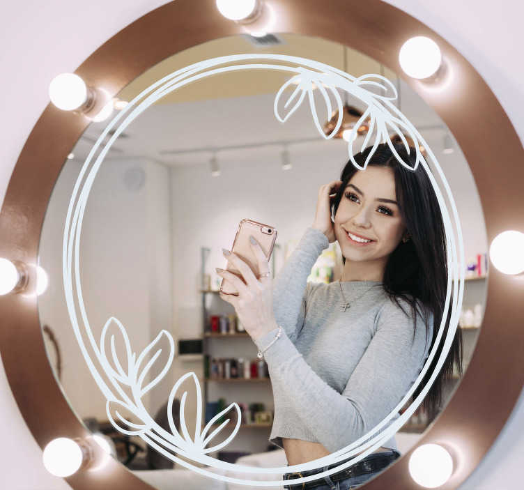 TenStickers. Round floral mirror frame mirror wall sticker. A round shape mirror decal created with floral ornament that you will love to decorate you mirror, you can have it in any other colour you would want.