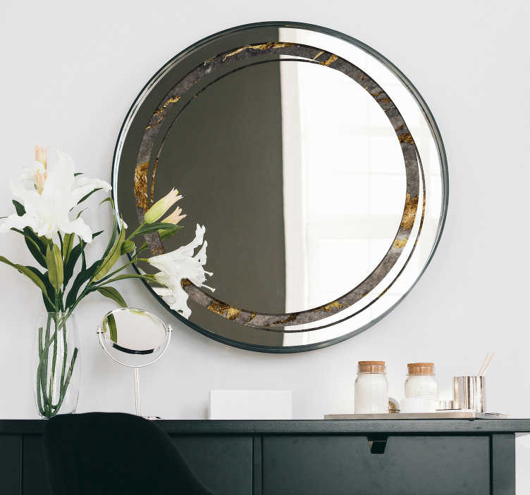 TenStickers. Round mirror frame stone texture mirror wall sticker. An easy to apply mirror frame decal  with a round ornamental stone texture that you will love. You can use it for your bathroom or dressing mirror.