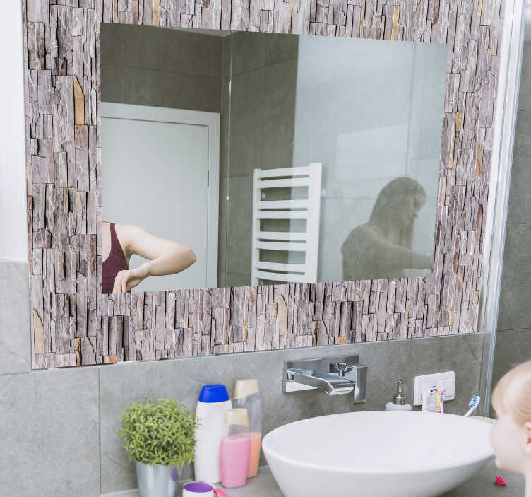 TenStickers. Mirror frame stone texture mirror wall sticker. Easy to apply mirror frame decal created with an ornamental stone texture that you will love. Just chose the size that you prefer.