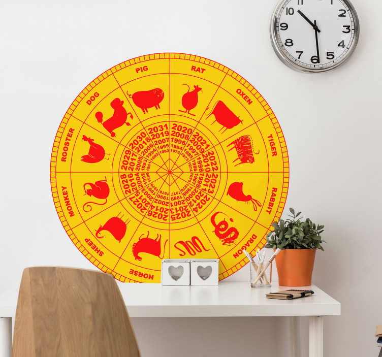 TenStickers. Chinese zodiac zodiac wall decal. You'll be able to see what year is your year easily thanks to this zodiac sticker. This design comes in a large variety of sizes to suit your needs