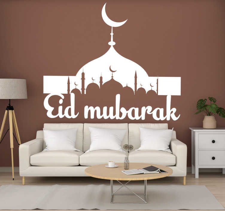 TenStickers. Buildings Eid Mubarak festival sticker. Decorate for this festival using this Eid Mubarak sticker. Your walls will look fantastic thanks to this! Over 50 colours!