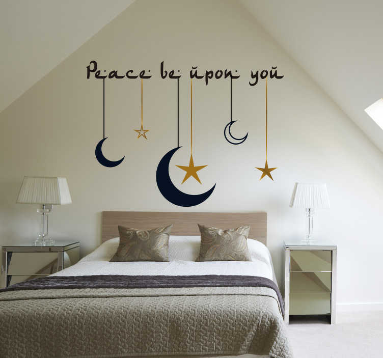 TenStickers. Peace upon you headboard wall sticker. If you're looking for a sticker to go above your bed, that will create a peaceful and cosy atmosphere this text sticker will do that !