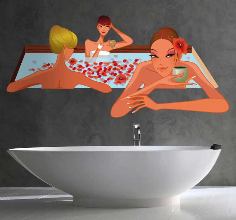 TENSTICKERS. ジャグジーステッカーの女性. 浴室の壁のステッカー - あなたの浴室にジャグジーでリラックスしている独特な外観を与えるカラフルな浴室のデカール。