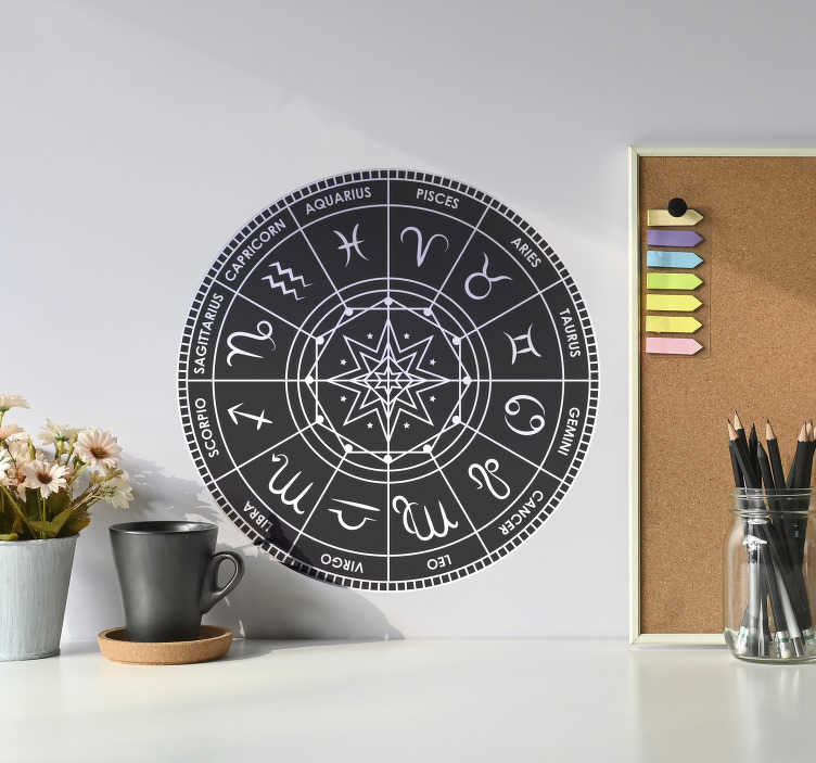 TenStickers. Zodiac chart zodiac wall decal. Make your space unique and full of character this Zodiac decal .Go on, your horoscope is telling you to do it. Easy to apply