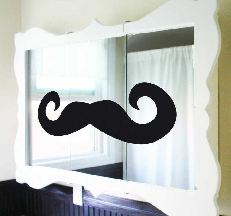 Tenstickers. Viikset peilillä. Viihdyttävä peilimatriisi kylpyhuoneellesi tai makuuhuoneellesi, pitkä ja tyylikäs viikset, jotka ovat tyypillisiä 20-luvun alussa. Erilainen mutta ainutlaatuinen sisustus peiliisi.