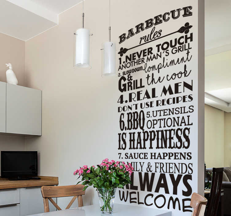 TenStickers. BBQ rules kitchen wall decal. When it comes to BBQ there are rules that every one must follow in order to get delicious food! This funny text sticker reminds you of these rules